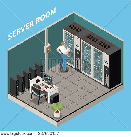 Isometric Datacenter Composition Server Room Headline And Engineers Work In Server Room Vector Illus