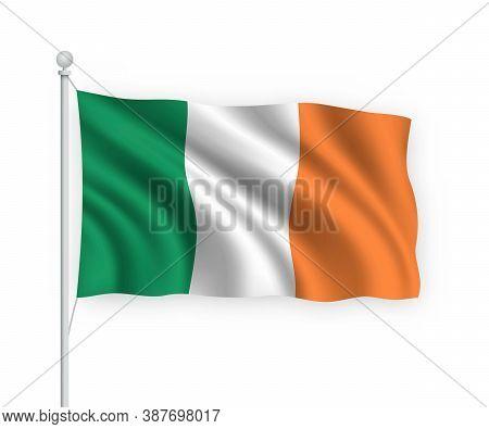 3d Waving Flag Ireland Isolated On White Background.