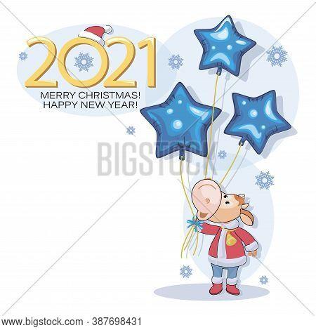 Calf. Bull. New Year 2021. Merry Christmas. Postcard. Cute Little Calf With Bright Blue Star.