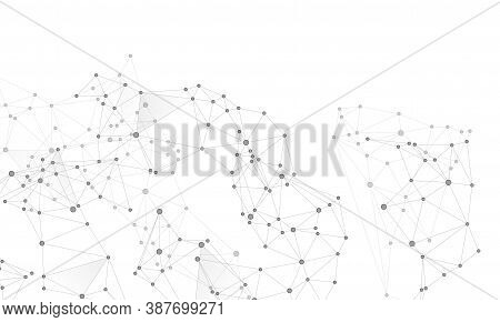 Big Data Cloud Scientific Concept. Network Nodes Greyscale Plexus Background. Tech Vector Big Data V