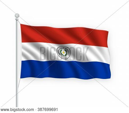 3d Waving Flag Paraguay Isolated On White Background.