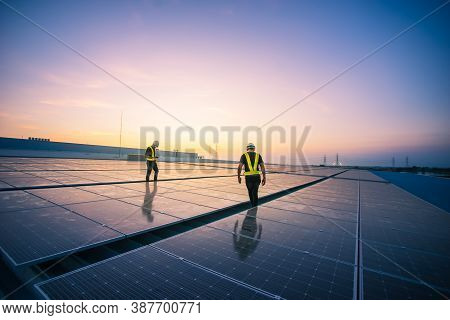 Technology Solar Cell, Engineer Service Check Installation Solar Cell On The Roof Of Factory On The