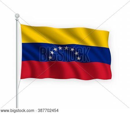 3d Waving Flag Venezuela Isolated On White Background.