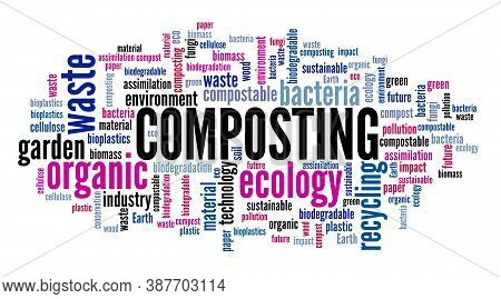Composting Word Cloud. Biodegradable Materials Biomass Composting Words.