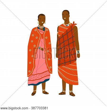 Couple In Traditional Maasai Costume And Accessories Vector Flat Illustration. Man And Woman In Nati