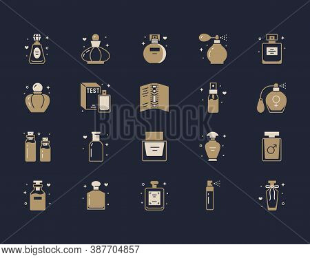 Perfume Bottles Silhouette Icons. Vector Illustration Included Icon As Glass Sprayer, Luxury Parfum