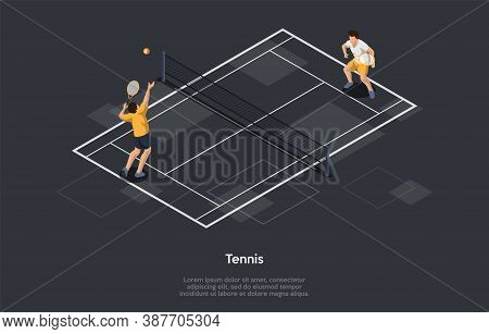 Tennis, Racket Sport Concept. Players Maneuvering The Ball With Tennis Rackets In Such A Way That Th