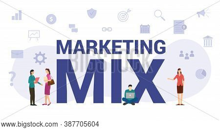 Marketing Mix Concept With Modern Big Text Or Word And People With Icon Related Modern Flat Style