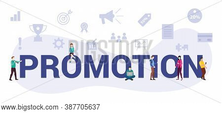 Promotion Business Concept With Modern Big Text Or Word And People With Icon Related Modern Flat Sty