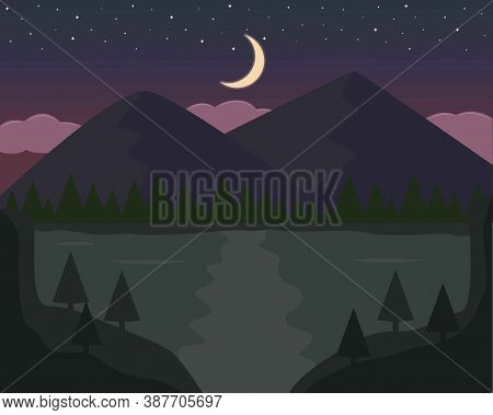 Illustration Vector Design Landscape And Nature Of Mountain And River