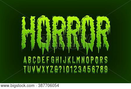 Horror Alphabet Font. Messy Letters And Numbers. Hand Drawn Vector Typography For Your Halloween Typ