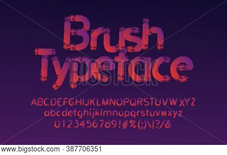 Brush Stroke Alphabet Font. Uppercase And Lowercase Handwritten Letters, Numbers And Symbols. Stock