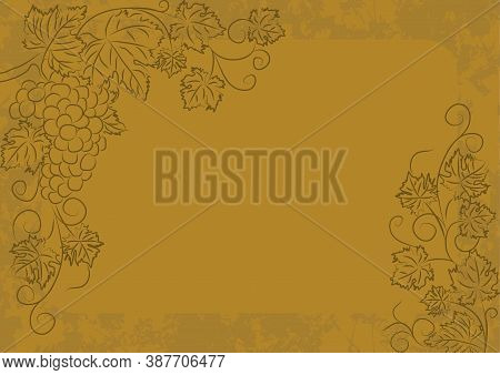 Grunge Vintage Gold Vector Template With Grapevine Linear Pattern. Background With Copy Space With F