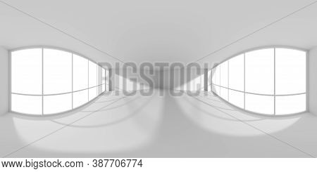 Hdri Environment Map Of Empty White Business Office Room With Empty Space And Sunlight From Large Wi