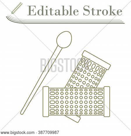 Hair Curlers Icon. Editable Stroke Simple Design. Vector Illustration.