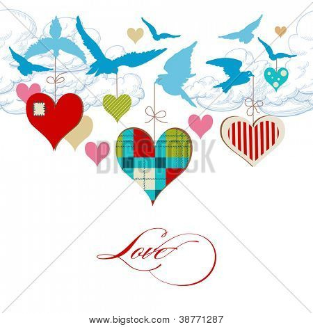 Blue birds and hearts in the sky, love message vector