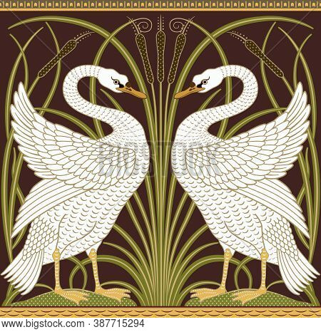 White Swan And Reeds Decorative Border Pattern On Dark Background. Middle Ages Style. Vector Illustr