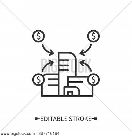 Financial Synergy Icon. Corporate Building Surrounded By Dollar Income Circles. Outline Drawing. Acq