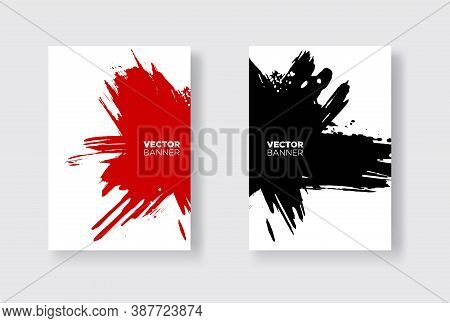 Black And Red Abstract Design Set. Ink Paint On Brochure, Monochrome Element Isolated On White. Grun