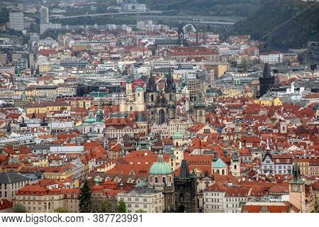 Prague, Czech - April 24, 2012: This Is An Aerial View Of Old Stare Mesto District.
