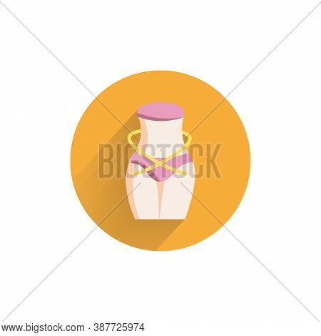 Slimming Belly Icon With Measuring Tape Colorful Flat Icon With Long Shadow. Slimming Belly Flat Ico