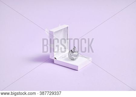 Silver Disco Ball In Gift Ring Box. 90s Fashion. Engagement Ring Concept. Valentines Day Banner