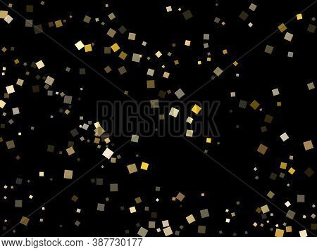 Yellow Gold Square Confetti Sparkles Scatter On Black. Chic Holiday Vector Sequins Background. Gold