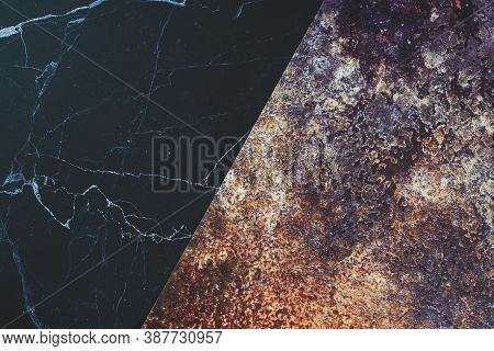 Marble Texture Background And Rust Pattern, Dark Background, Copy Space.