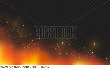 Corner Fire Glow With Fiery Sparks, Particles
