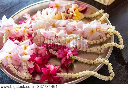 Traditional Oriental Decorations From Frangipani Flowers, Celebration And Fun, Objects Of Worship In