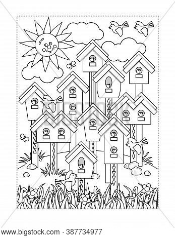 Coloring Page With Birds Village - Various Birdhouses, Nestlings, Grass, Flowers