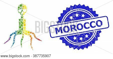 Bright Colored Vector Death Virus Mosaic For Lgbt, And Morocco Unclean Rosette Seal Print. Blue Seal