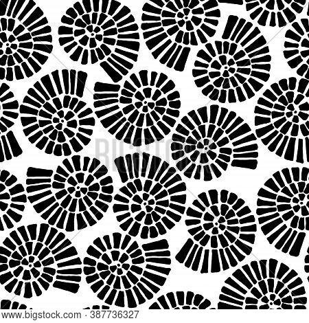 Doodle Hand Drawn Set Of Seashells Monochrome
