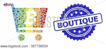 Rainbow Colored Vector Bitcoin Webshop Collage For Lgbt, And Boutique Scratched Rosette Stamp Seal.