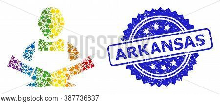 Spectrum Vibrant Vector Butcher Collage For Lgbt, And Arkansas Corroded Rosette Stamp Seal. Blue Sta