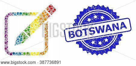 Spectrum Colorful Vector Edit Pencil Mosaic For Lgbt, And Botswana Corroded Rosette Stamp Seal. Blue