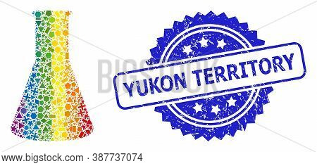 Spectrum Colored Vector Chemical Retort Mosaic For Lgbt, And Yukon Territory Dirty Rosette Stamp Sea