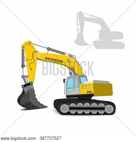 Side View Modern Yellow Powerful Excavator For Building Isolated On White Background. Vector Illustr