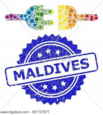Spectrum Colored Vector Electric Connection Mosaic For Lgbt, And Maldives Rubber Rosette Stamp Seal.