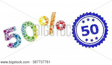 Bright Vibrant Vector 50 Percents Collage For Lgbt, And 50 Scratched Rosette Stamp Seal. Blue Stamp