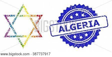 Spectrum Colored Vector David Star Mosaic For Lgbt, And Algeria Textured Rosette Seal. Blue Stamp Se