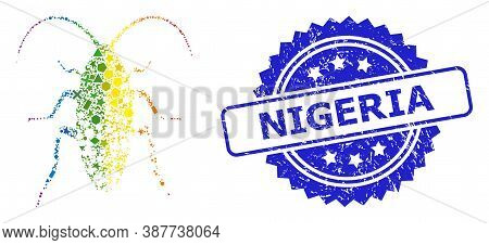 Bright Colored Vector Damaged Cockroach Mosaic For Lgbt, And Nigeria Textured Rosette Stamp Seal. Bl