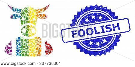 Bright Colored Vector Cow Boy Collage For Lgbt, And Foolish Unclean Rosette Stamp Seal. Blue Stamp S