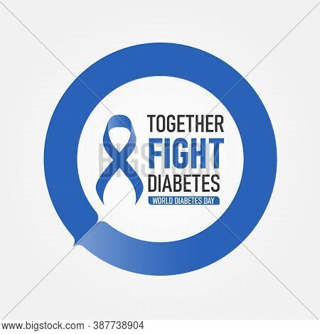 World Diabetes Day With Together Fight Diabetes Text And Blue Ribbon In Blue Circle Ring Vector Desi