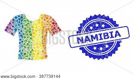 Spectrum Colorful Vector Dirty T-shirt Mosaic For Lgbt, And Namibia Dirty Rosette Stamp. Blue Stamp