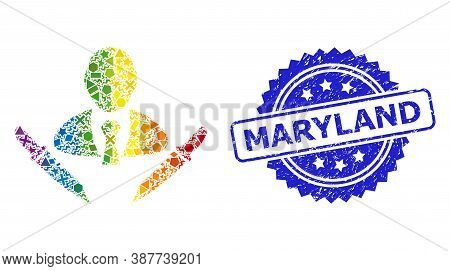 Spectrum Vibrant Vector Butchery Boss Mosaic For Lgbt, And Maryland Corroded Rosette Stamp. Blue Sta