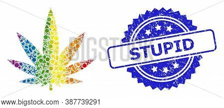 Spectrum Colorful Vector Cannabis Mosaic For Lgbt, And Stupid Grunge Rosette Seal Print. Blue Stamp