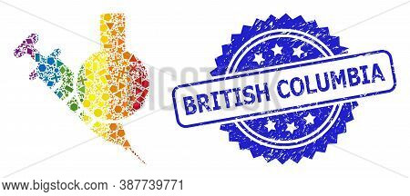 Bright Colored Vector Chemical Vaccine Collage For Lgbt, And British Columbia Corroded Rosette Stamp