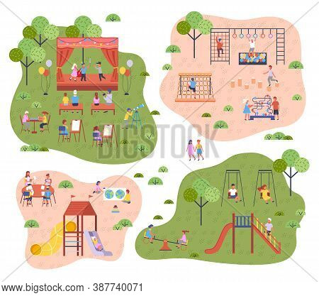 Set Of Kindergarten Illustration With Playground. The Teacher, Parents Child. Children Play In The S