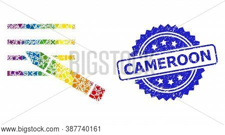 Spectrum Colored Vector Edit Text Collage For Lgbt, And Cameroon Dirty Rosette Stamp. Blue Stamp Sea